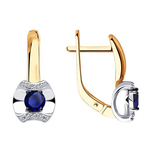 Серьги из золота с бриллиантами и сапфирами (2020938) - фото