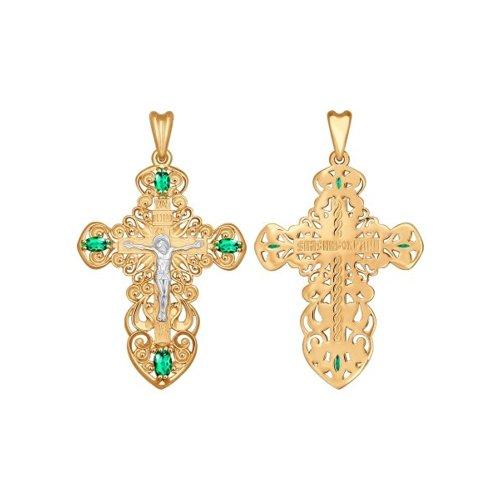 Крест из золота с зелеными фианитами