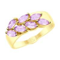 Кольцо из желтого золота с аметистами