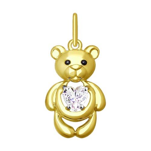 цена на Подвеска «Медвежонок» SOKOLOV из желтого золота с фианитом