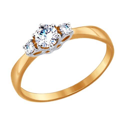Кольцо из золота с фианитами (017493) - фото