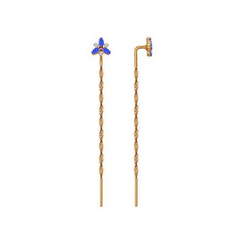 Серьги-цепочки SOKOLOV из золота с синими фианитами