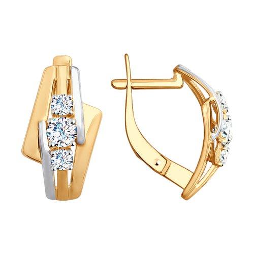 Серьги из золота с фианитами (028011) - фото