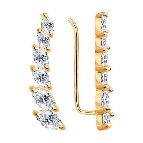 Серьги из золочёного серебра с фианитами (93020984) - фото
