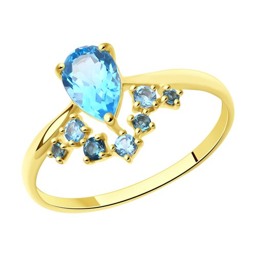 Кольцо из желтого золота с голубыми и синими топазами