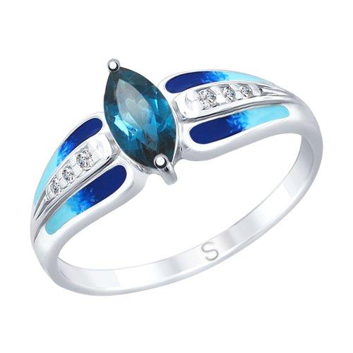 Кольцо из серебра с эмалью и синим топазом и фианитами (92011744) - фото