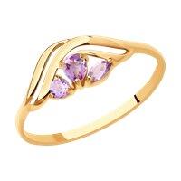 Кольцо из золота с аметистами