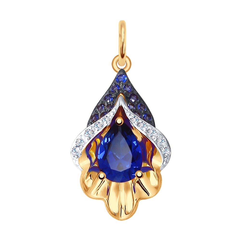 Подвеска SOKOLOV из золота с синим корундом (синт.) и бесцветными и синими фианитами подвеска из комбинированного золота с бесцветными и синими фианитами