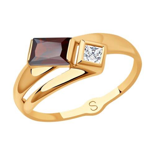 Кольцо из золота с гранатом и Сваровски
