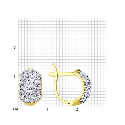 Серьги из желтого золота с фианитами (027656-2) - фото №2