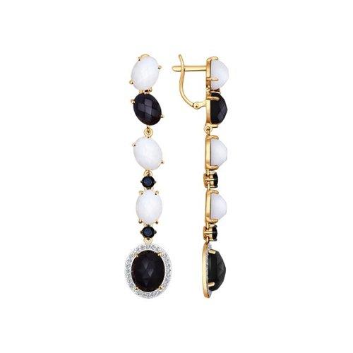Серьги длинные из золота с чёрными и белыми агатами и чёрными фианитами
