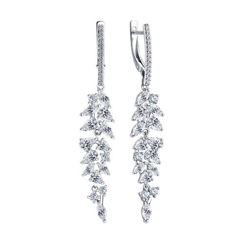 Серьги из серебра с фианитами (94023587) - фото №2