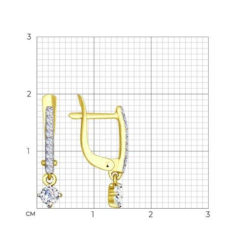 Серьги из желтого золота с фианитами (027477-2) - фото №2