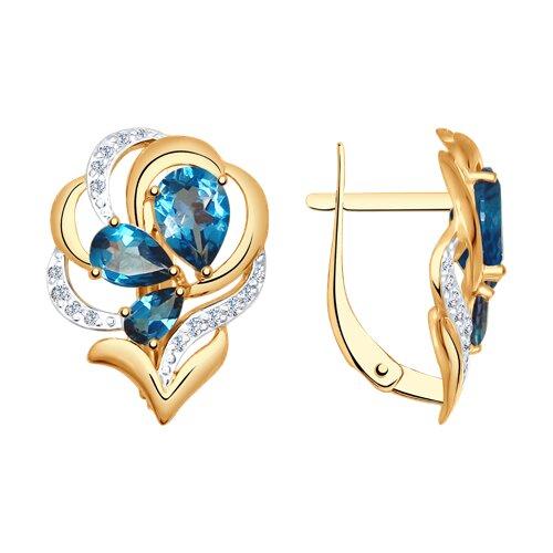 Серьги из золота с синими топазами и фианитами (37725035) - фото