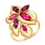 Кольцо из золота с родолитами и красными корундами (синт.)