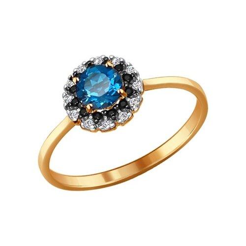 Кольцо из золота с топазом, фианитами и чёрными фианитами