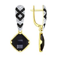 Серьги из желтого золота с бесцветными и чёрными бриллиантами и чёрными керамическими вставками