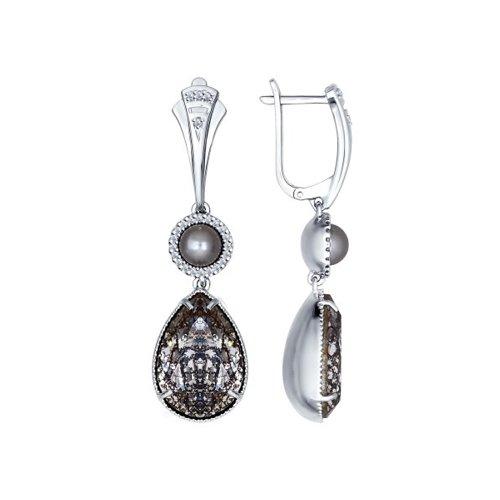Серьги длинные из серебра с миксом камней
