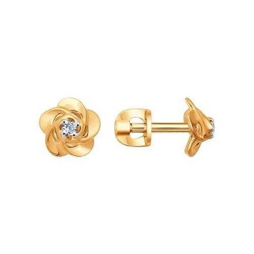 Серьги-пусеты из золота с бриллиантами (1020876) - фото