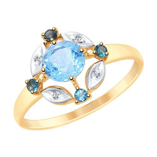 Кольцо из золота с голубым и синими топазами и фианитами (715114) - фото