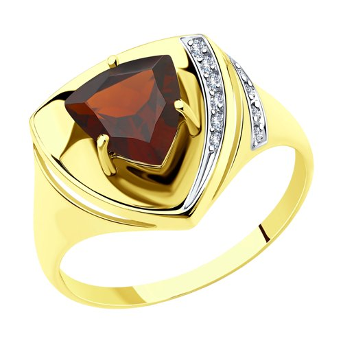 Кольцо из желтого золота с гранатом и фианитами (715259-2) - фото