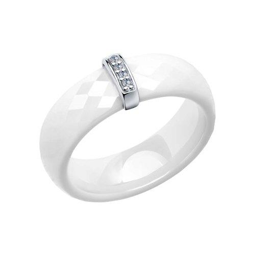 Кольцо из серебра с керамической вставкой и фианитом (94011665) - фото