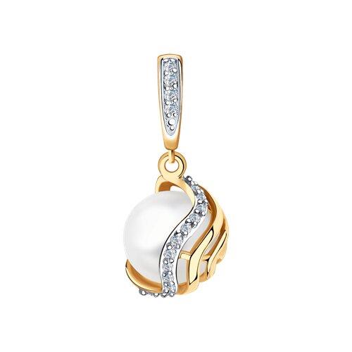 Подвеска из золота с бриллиантами и жемчугом (8030026) - фото