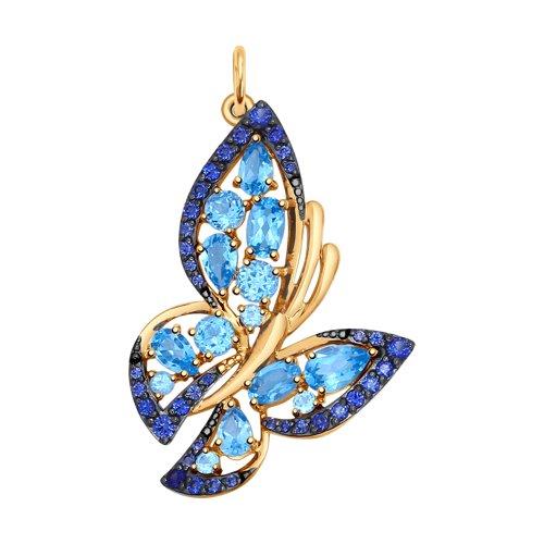 Подвеска «Бабочка» из золота с полудрагоценными вставками