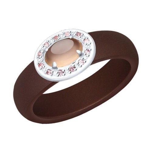 Кольцо из серебра с розовым агат (синт.), коричневыми керамическими вставками и ситаллами цена 2017