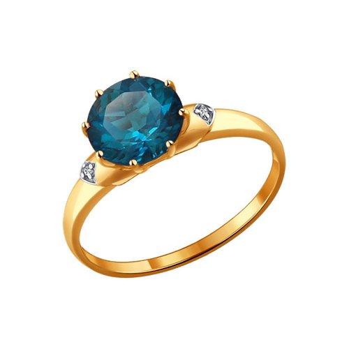 Кольцо из золота с топазом и фианитами (714004) - фото