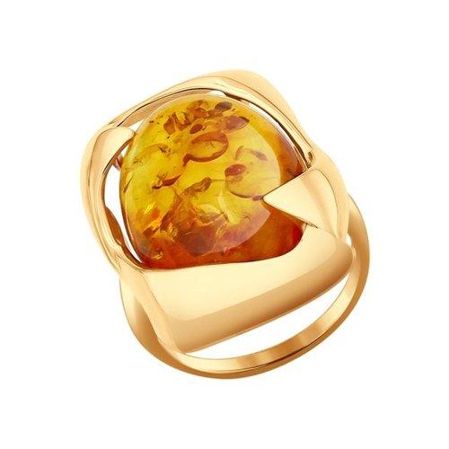 Кольцо из золота с янтарём (714410) - фото