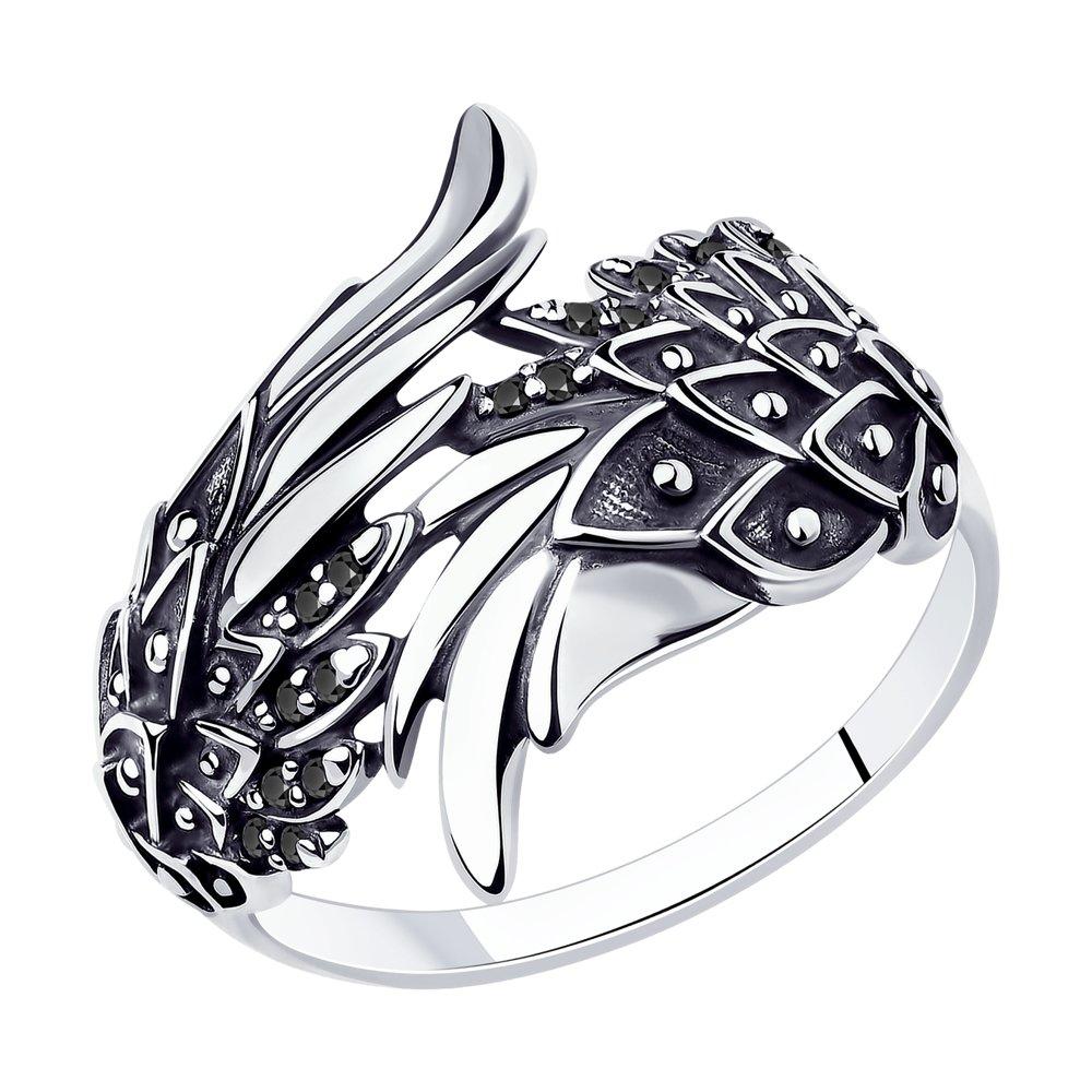 Кольцо SOKOLOV из чернёного серебра с чёрными фианитами кольцо с хризопразами из чернёного серебра