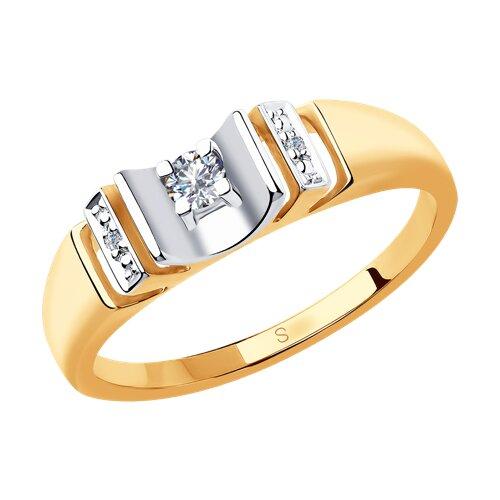 Кольцо из комбинированного золота с бриллиантами (1011838) - фото