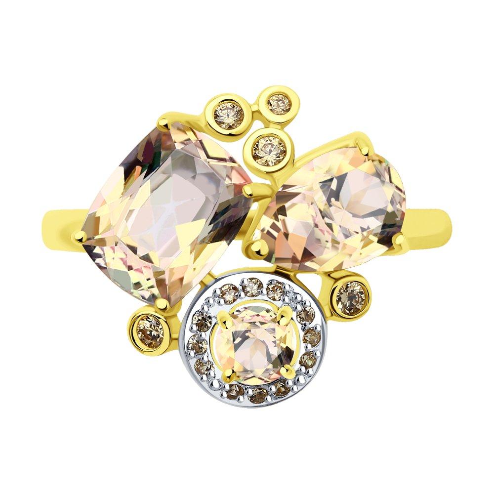 Кольцо SOKOLOV из желтого золота с розовыми топазами Swarovski и жёлтыми Swarovski Zirconia кольцо sokolov из золота с топазами swarovski