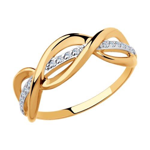 Кольцо из золота с фианитами (018168) - фото