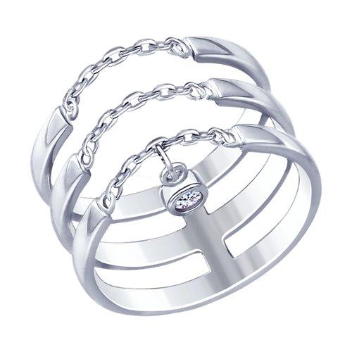 Кольцо из серебра с фианитом (94012661) - фото
