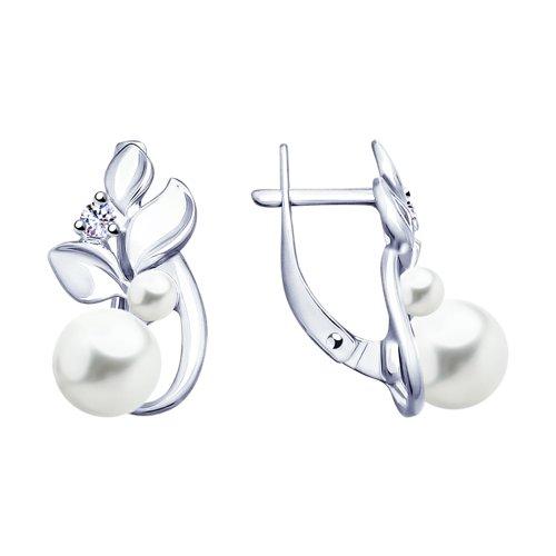 Серьги из серебра с жемчугом и фианитами (94023110) - фото