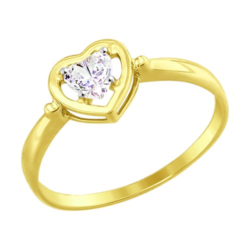 Кольцо из желтого золота с фианитом (017475-2) - фото