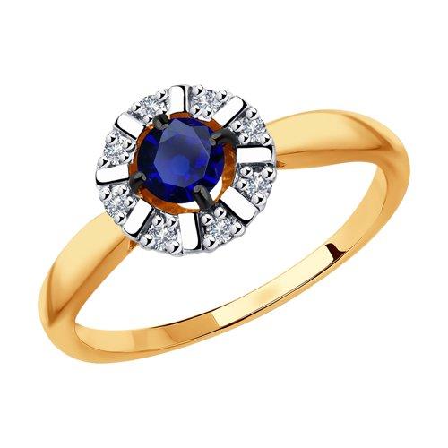 Кольцо из золота с бриллиантами и сапфиром (2011127) - фото