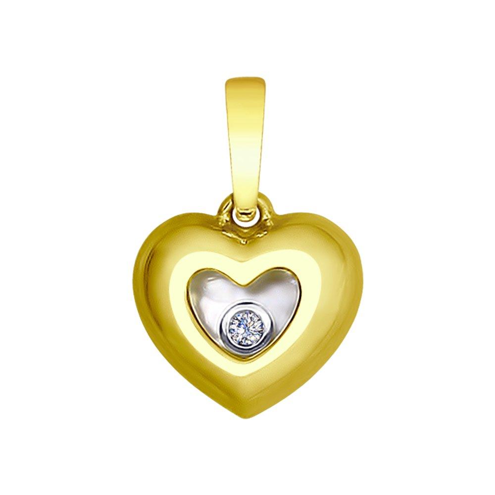 Фото - Подвеска SOKOLOV из желтого золота с бриллиантом «Сердце» подвеска sokolov из желтого золота с бриллиантом