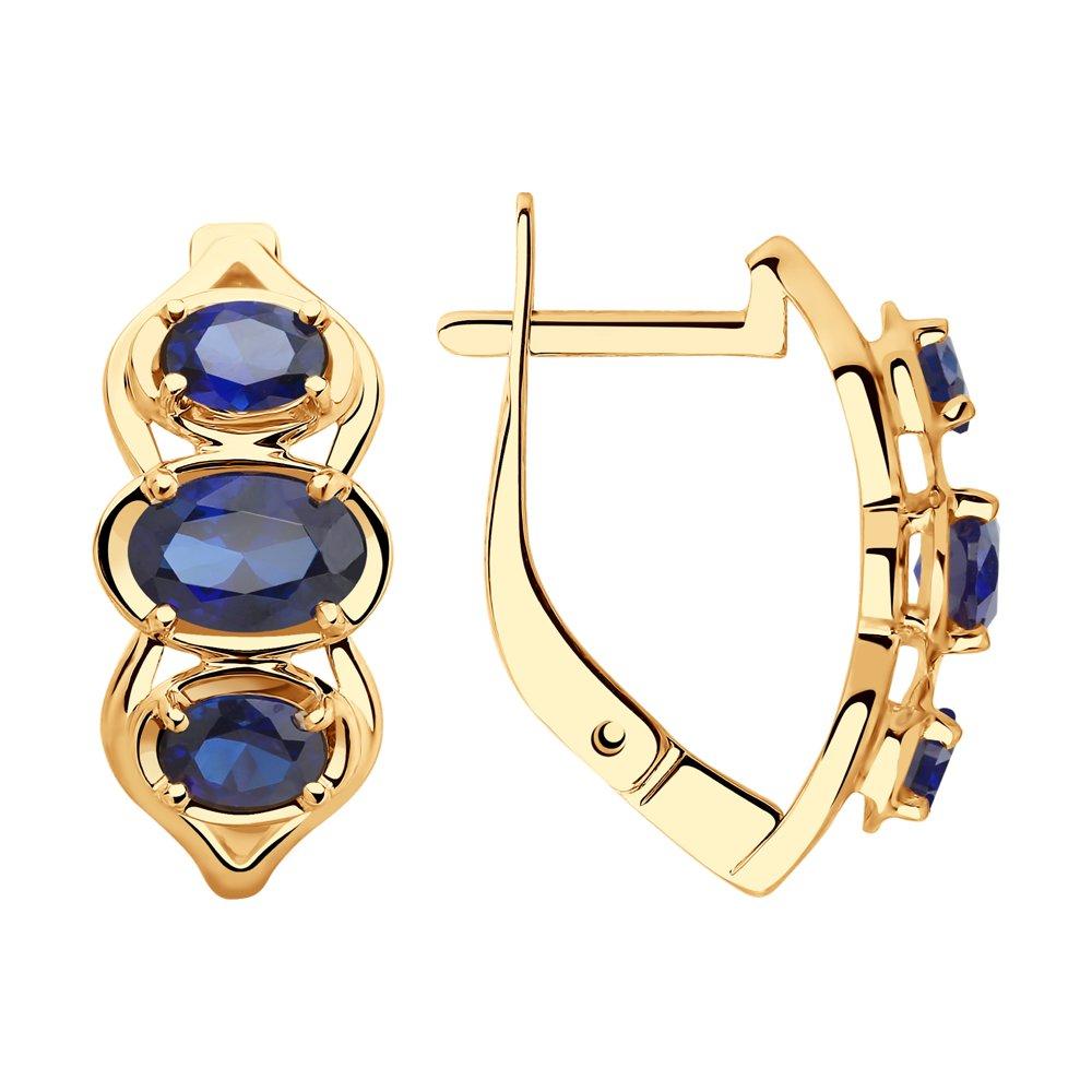 Серьги SOKOLOV из золота с синими корундами фото