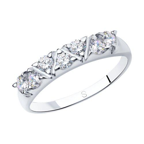 Кольцо из серебра с фианитами (94012356) - фото