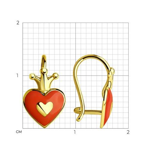 Серьги из желтого золота с эмалью (027348-2) - фото №2