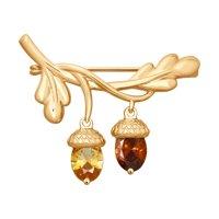 Золотая брошь «Жёлуди» со Swarovski Zirconia