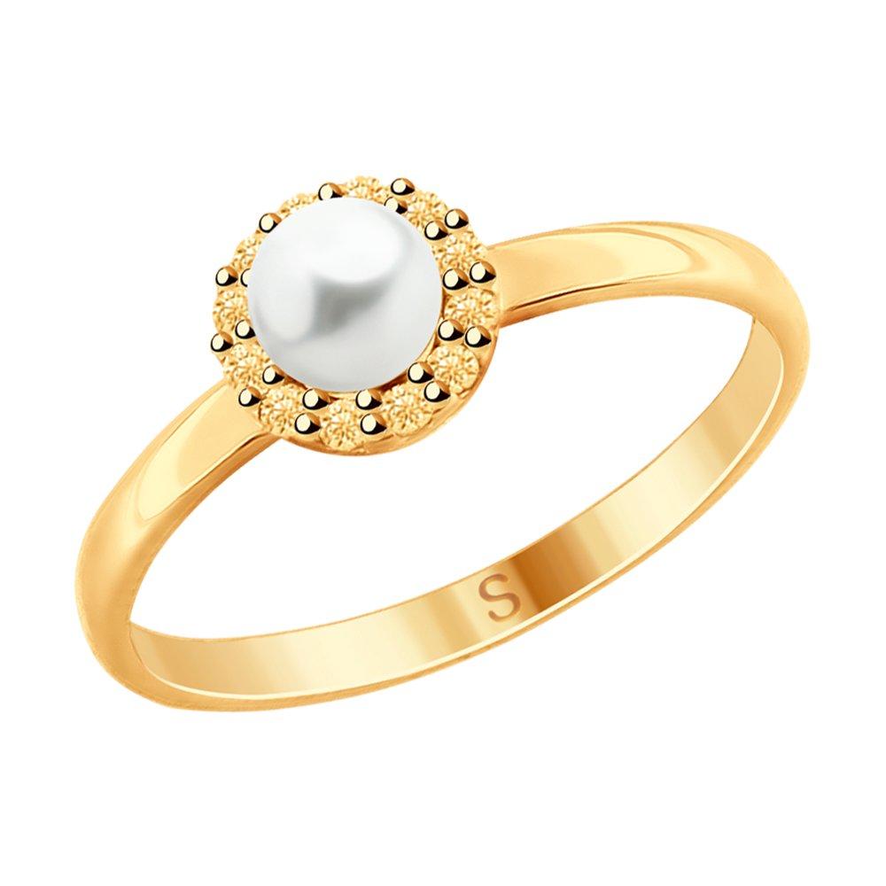 Кольцо SOKOLOV из золочёного серебра с жемчугом и жёлтыми фианитами фото