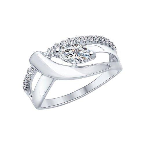 Кольцо из серебра с фианитами (94012106) - фото