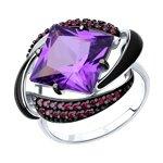 Кольцо из серебра с эмалью с сиреневым ситаллом и красными фианитами