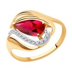 Кольцо из золота с красным корундом (синт.) и фианитами