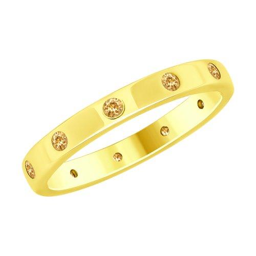 Кольцо из золочёного серебра с фианитами (93010727) - фото