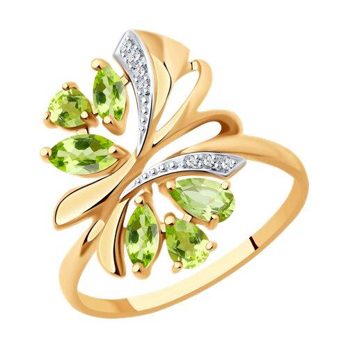 Кольцо из золота с хризолитами и фианитами (714738) - фото